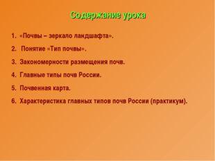 Содержание урока «Почвы – зеркало ландшафта». Понятие «Тип почвы». 3. Законом