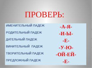 ПРОВЕРЬ: ИМЕНИТЕЛЬНЫЙ ПАДЕЖ -А-Я- РОДИТЕЛЬНЫЙ ПАДЕЖ -И-Ы- ДАТЕЛЬНЫЙПАДЕЖ -Е-