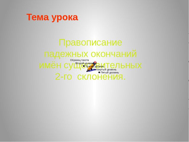 Правописание падежных окончаний имён существительных 2-го склонения. Тема урока