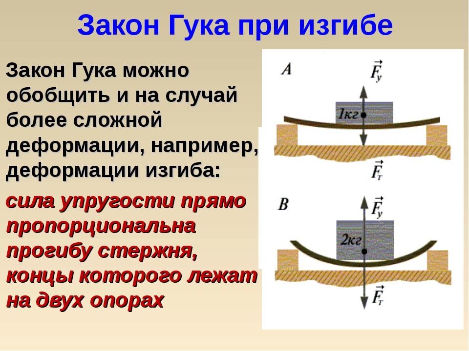 Закон Гука при изгибе Закон Гука можно обобщить и на случай более сложной деф...