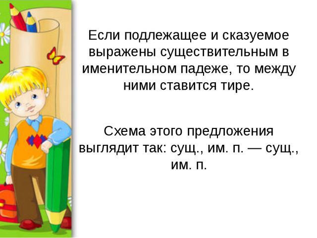 Если подлежащее и сказуемое выражены существительным в именительном падеже, т...