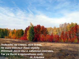 Подожди, не спеши, моя осень, Не гони тёплых дней череду. Жёлтый лист ты в за