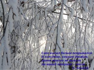 Снег выпал белым покрывалом В холодном, хмуром декабре. Давно такого не бывал