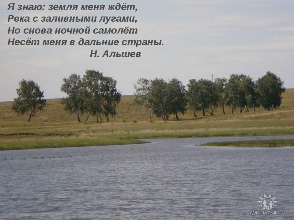 Я знаю: земля меня ждёт, Река с заливными лугами, Но снова ночной самолёт Нес...