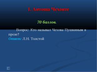 1. Антоша Чехонте 70 баллов. Вопрос: Кто называл Чехова Пушкиным в прозе? От