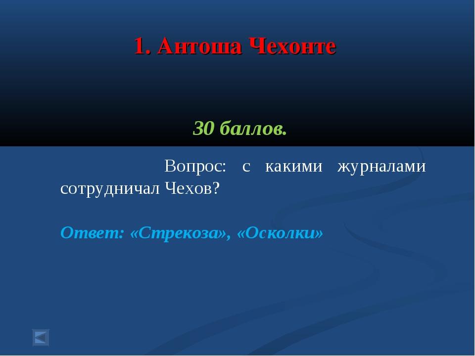 1. Антоша Чехонте 30 баллов. Вопрос: с какими журналами сотрудничал Чехов? О...