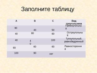 Заполните таблицу Прямоугольный Остроугольный Тупоугольный, равнобедренный Ра