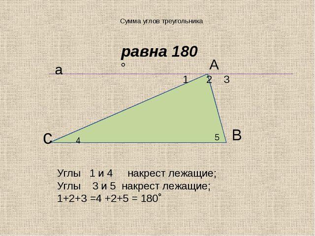 Сумма углов треугольника А 1 2 3 с 4 5 В а Углы 1 и 4 накрест лежащие; Углы 3...