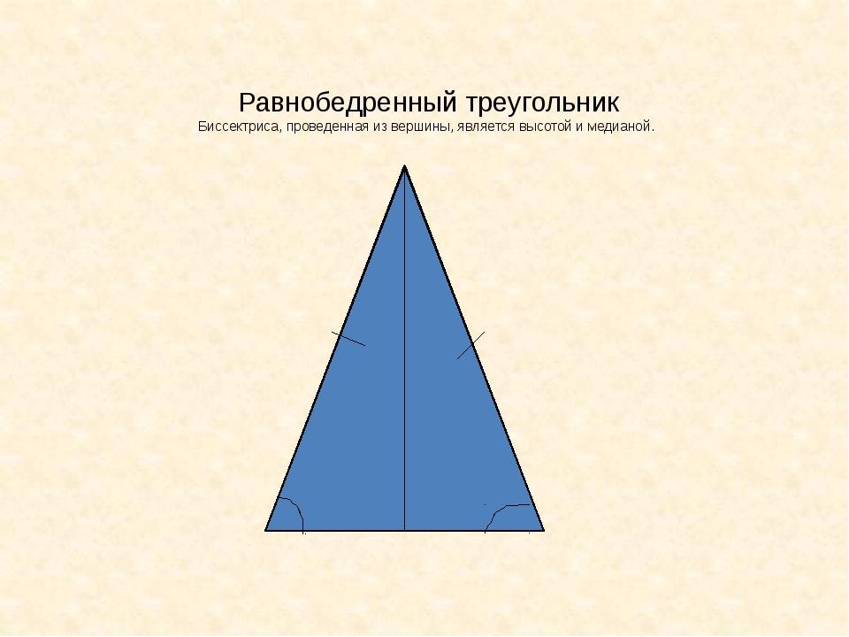 Равнобедренный треугольник Биссектриса, проведенная из вершины, является высо...