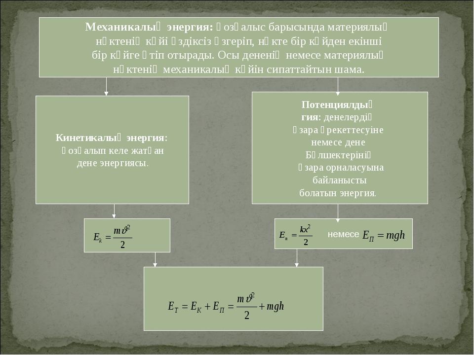 Кинетикалық энергия: қозғалып келе жатқан дене энергиясы. Потенциялдық гия:...