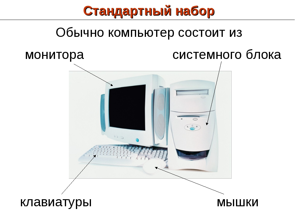 Стандартный набор монитора клавиатуры системного блока мышки Обычно компьютер...