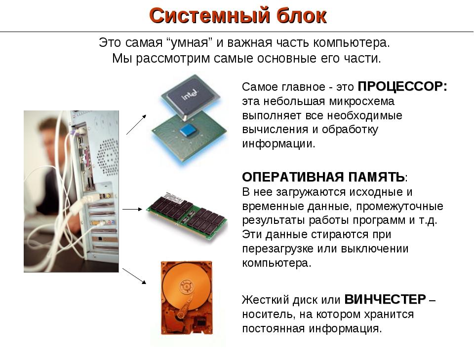 Системный блок Самое главное - это ПРОЦЕССОР: эта небольшая микросхема выполн...