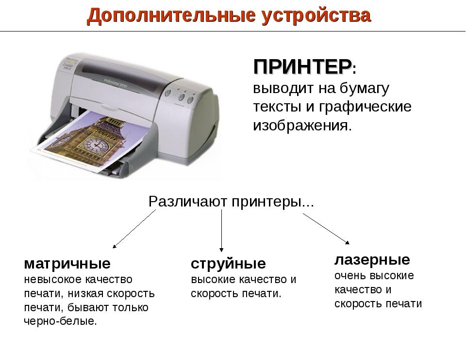 Дополнительные устройства ПРИНТЕР: выводит на бумагу тексты и графические изо...