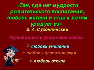 «Там, где нет мудрости родительского воспитания, любовь матери и отца к детя