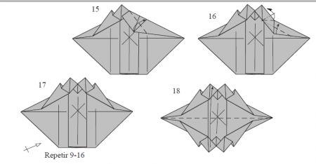 Динозавры оригами из бумаги: схема сборки детеныша стегозавра от Fernando Gilgado