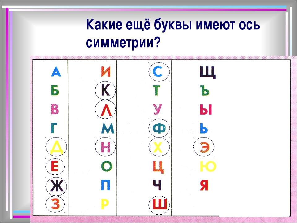 Какие ещё буквы имеют ось симметрии?