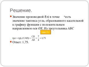 Решение. Значение производной f(x) в точке есть значение тангенса угла, образ