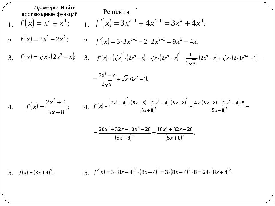 Примеры. Найти производные функций . 1. 2. 3. 4. 5. Решения 1. 2. 3. 4. 5.