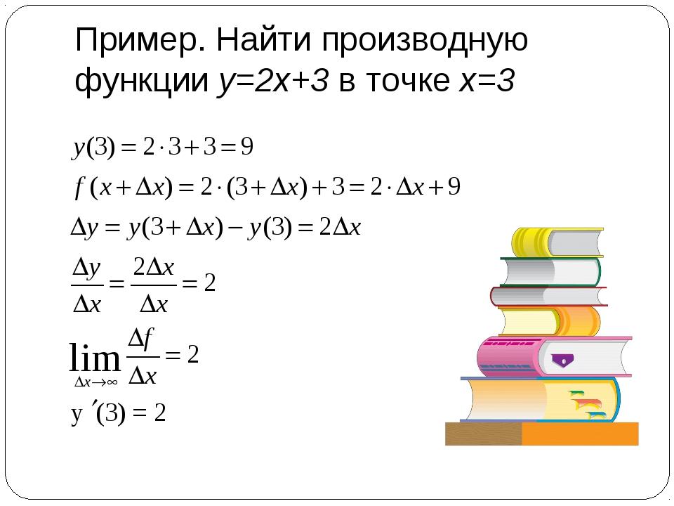 Пример. Найти производную функции у=2х+3 в точке х=3