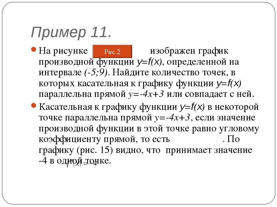 Пример 11. На рисунке изображен график производной функции y=f(x), определенн...