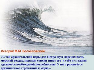 Историк М.М. Богословский: «С той архангельской поры для Петра шум морских во