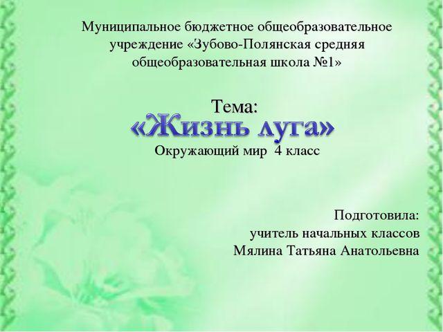 Муниципальное бюджетное общеобразовательное учреждение «Зубово-Полянская сред...