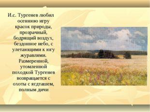 И.с. Тургенев любил осеннюю игру красок природы, прозрачный, бодрящий воздух,