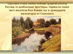 Тургенев очень любил пейзаж средней полосы России, ее необъятные просторы. О
