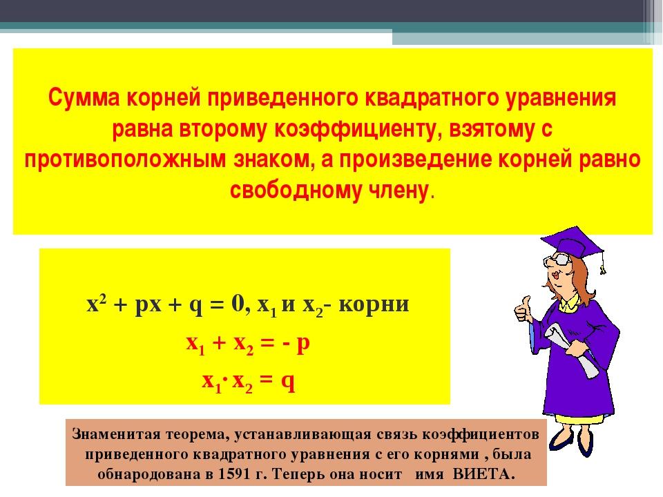 Сумма корней приведенного квадратного уравнения равна второму коэффициенту, в...