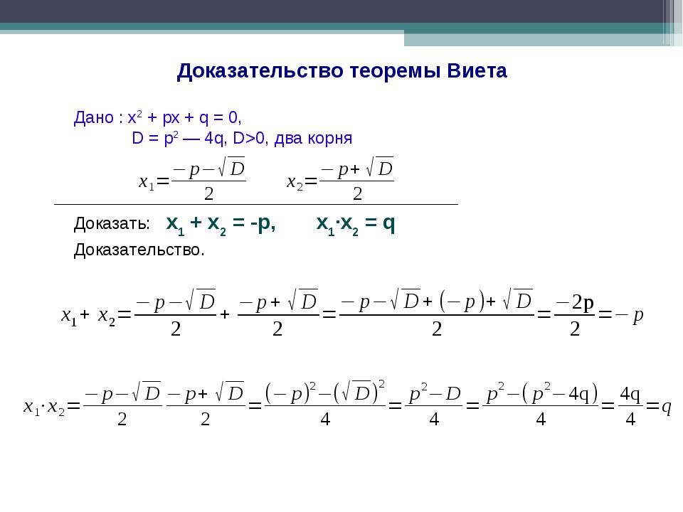 Доказательство теоремы Виета Дано : x2 + px + q = 0, D = p2 — 4q, D>0, два ко...