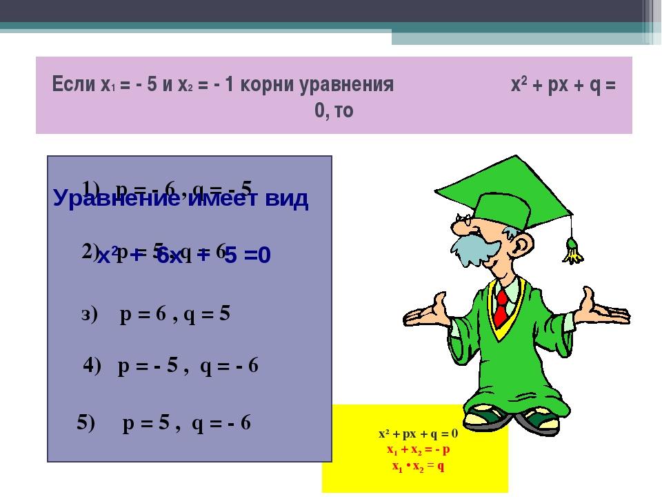 х2 + px + q = 0 x1 + x2 = - p x1 • x2 = q Если х1 = - 5 и х2 = - 1 корни ура...