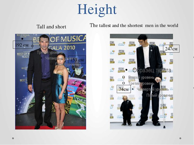 Height 192 cм 153 см Tall and short The tallest and the shortest men in the w...