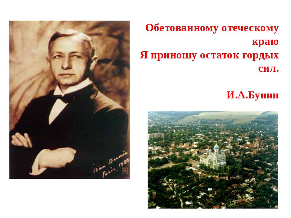 И.А.Бунин Обетованному отеческому краю Я приношу остаток гордых сил.