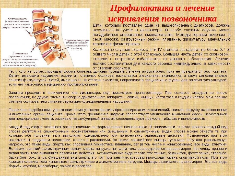 Профилактика и лечение искривления позвоночника Те, у кого непрогрессирующая...