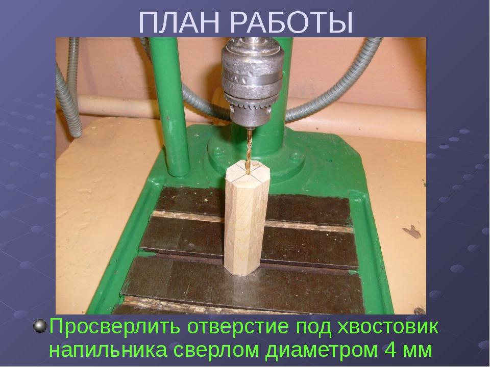 ПЛАН РАБОТЫ Просверлить отверстие под хвостовик напильника сверлом диаметром...