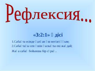 «3:2:1» әдісі Сабақта есінде қалған үш негізгі ұғым; Сабақтағы сен үшін қызы
