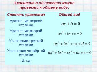 Уравнение n-ой степени можно привести к общему виду: Степень уравненияОбщий