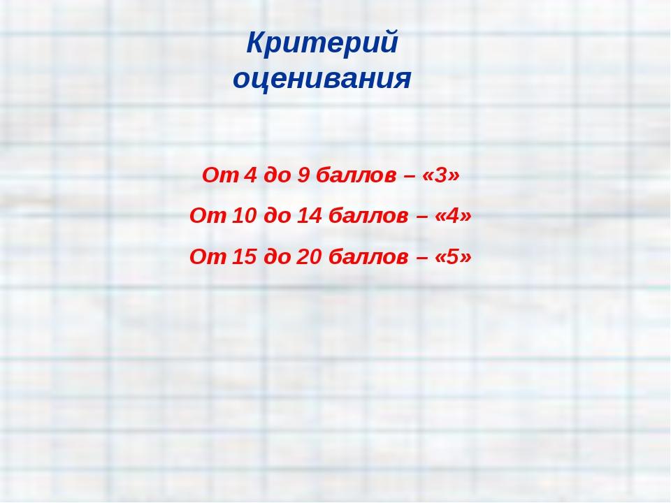 От 4 до 9 баллов – «3» От 10 до 14 баллов – «4» От 15 до 20 баллов – «5» Крит...