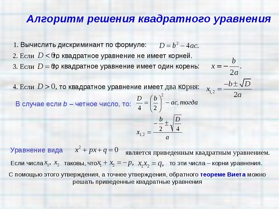 1. Вычислить дискриминант по формуле: 2. Если то квадратное уравнение не имее...