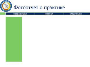 Фотоотчет о практике предыдущая следующая главная Информация о представленном