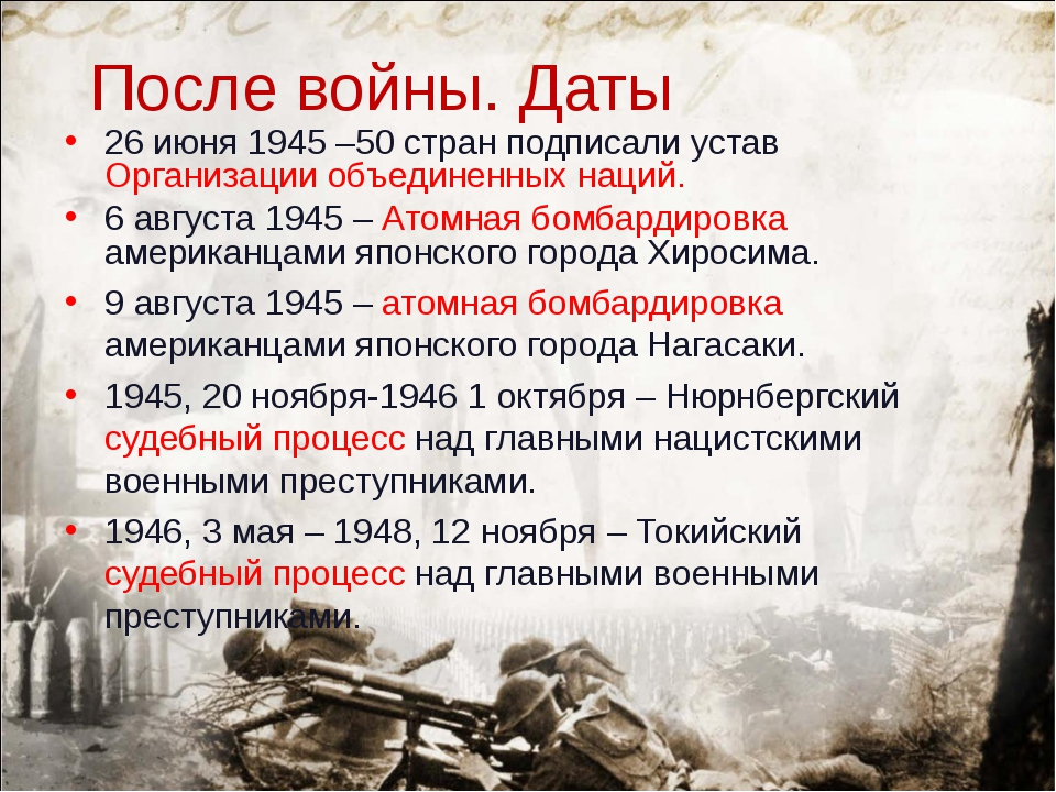 После войны. Даты 26 июня 1945 –50 стран подписали устав Организации объедине...