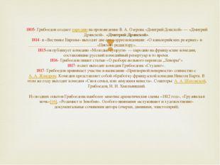 1805- Грибоедов создает пародию на произведение В.А.Озерова «Дмитрий Донско
