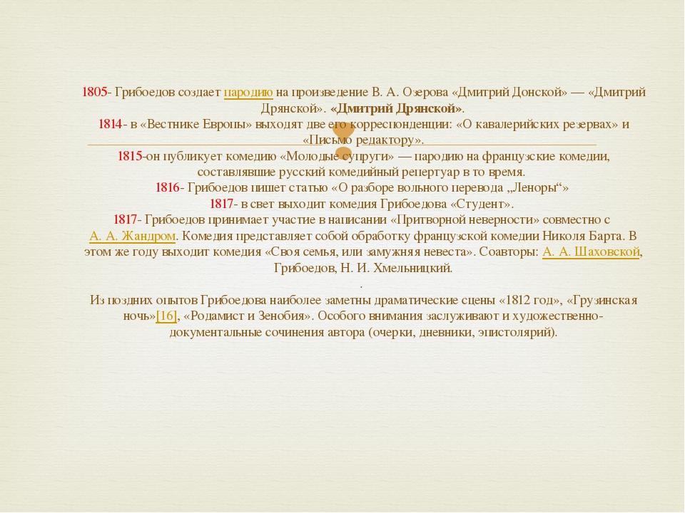 1805- Грибоедов создает пародию на произведение В.А.Озерова «Дмитрий Донско...
