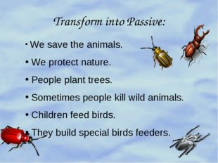 Transform into Passive: We save the animals. We protect nature. People plant
