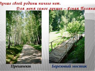 Прешпект Березовый мостик «Лучше своей родины ничего нет. Для меня самое лучш