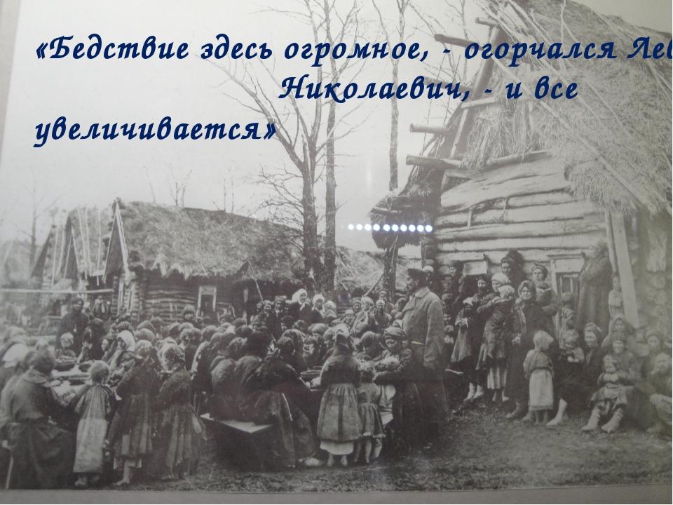 «Бедствие здесь огромное, - огорчался Лев Николаевич, - и все увеличивается»