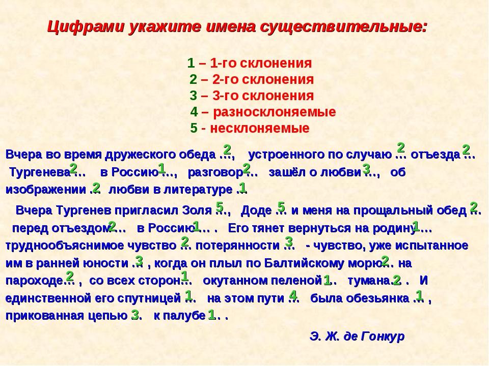Цифрами укажите имена существительные: 1 – 1-го склонения 2 – 2-го склонения...