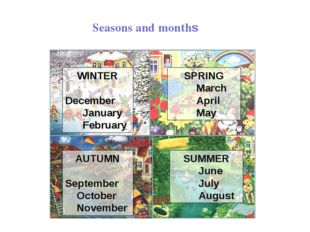 WINTER December January February SPRING March April May SUMMER June July Augu