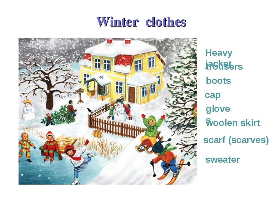 Heavy jacket trousers boots Winter clothes cap scarf (scarves) gloves woolen...