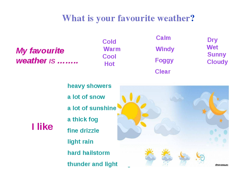 What is your favourite weather? My favourite weather IS …….. Calm Windy Foggy...